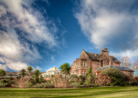 Exterior shot of the hotel taken from the gardens, which is part of the Auchrannie Resort on Arran