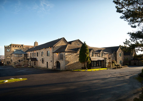 An exterior image of the Derwant Manor hotel in Allensford, set in 20 acres of northumberland countryside.