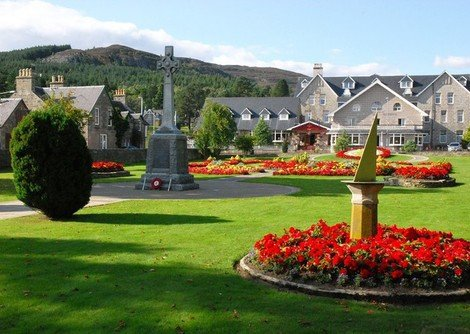 Scenic view of the Duke of gordon hotel in Kingussie, the hotel looks out over the picturesque spey valley.