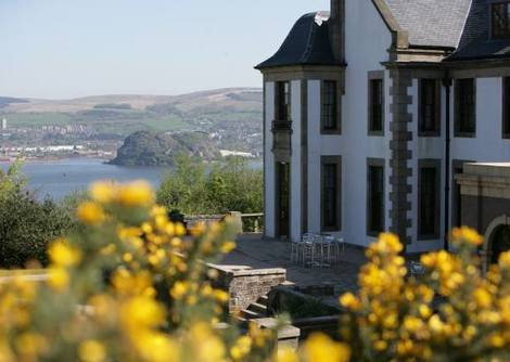 Scenic view of the Gleddoch House hotel in Langbank overlooking the stunning views of the river Firth
