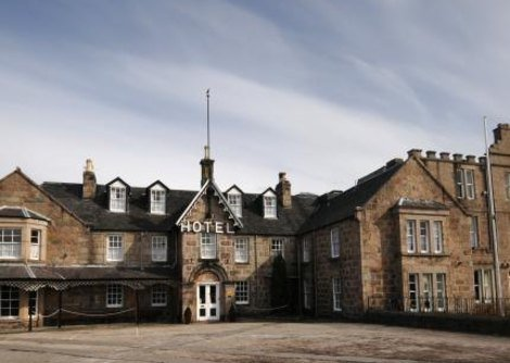 An outdoor view of the Huntley Arms hotel in Aboyne, this building is one of the oldest coaching Inn's in Scotland dating back to 1432.