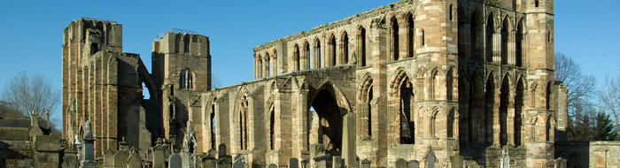 The ruins of Elgin Cathedral that dates back to the 1200s, close to a wide range of hotels and tourist destinations / sights.