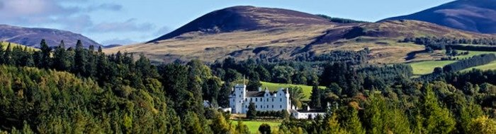 Majestic castle surrounded by the Perthshire countryside in Blair Atholl close to a wide range of hotels and tourist destinations/sights.